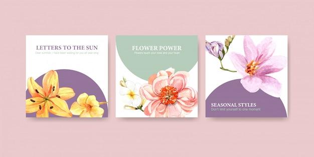 Pubblicizza il modello con l'acquerello di design floreale estivo