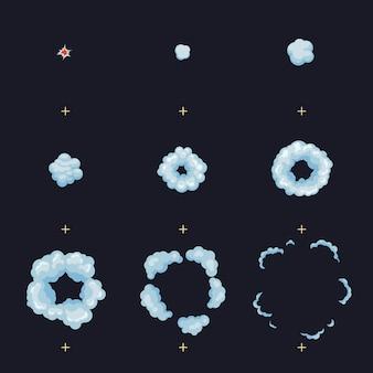 Puff, boom, burst, esplosione, esplodono i fotogrammi dell'animazione
