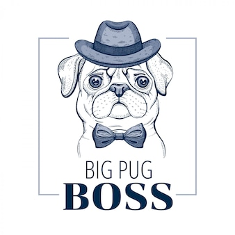 Pug boss dog. vettore animale freddo nello stile disegnato a mano di scarabocchio.