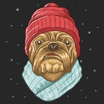 Pug con l'uccisore freddo inverno