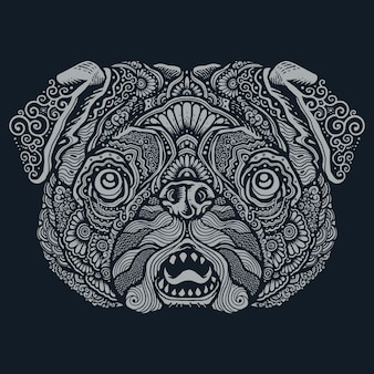 Pug dog ethnic mandala illustration