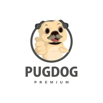 Pug dog thump up mascotte personaggio icona logo illustrazione