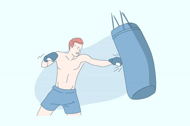 Pugile con l'illustrazione del sacco da boxe