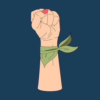 Pugno di potere della donna e vettore di protesta