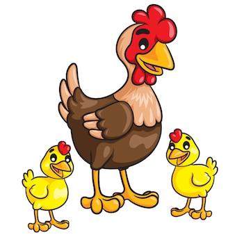 Pulcini gallina cartoon