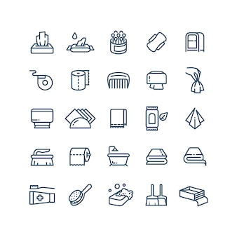 Pulire le mani e le icone linea di tovaglioli antisettici. simboli sanitari e igienici