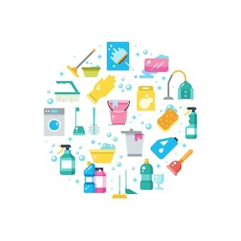Pulisca il concetto della casa con le icone di vettore degli strumenti di lavaggio e di pulizia