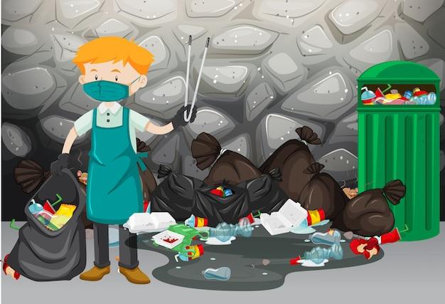 Pulitore che pulisce la spazzatura sul pavimento