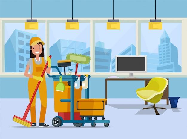 Pulitore di ufficio, bidello con attrezzature per la pulizia
