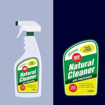 Pulitore, etichetta bottiglia detergente per bucato, detergente per wc o lavandino, modello di progettazione banner banner creativo.