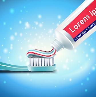 Pulizia dei denti e sfondo di spazzolatura.