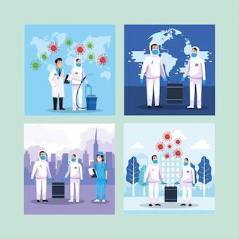 Pulizia delle persone a rischio biologico con particelle covid19 sulla città