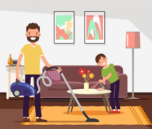Pulizia di padre e figlio, facendo le faccende domestiche.
