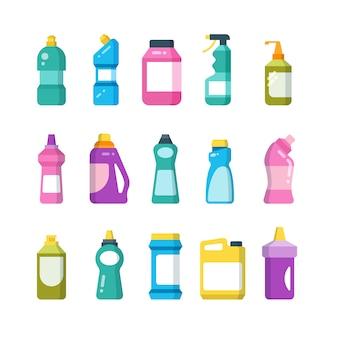 Pulizia di prodotti per la casa. bottiglie per detergenti chimici. insieme di vettore di contenitori sanitari