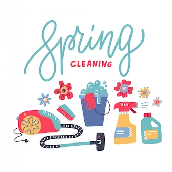 Pulizie di primavera - linea scritta con fiori e attrezzature per la casa, lavori domestici, elettrodomestici, utensili domestici.