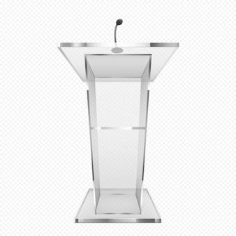 Pulpito di vetro, podio o tribuna, supporto per rostro