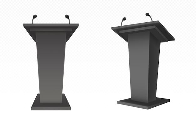 Pulpito nero, podio o tribuna, supporto per rostro