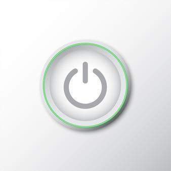 Pulsante di accensione con linea verde e ombra
