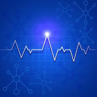 Pulsante di battito cardiaco bianco o elettrocardiogramma su sfondo molecole blu per concetto di salute e medico.