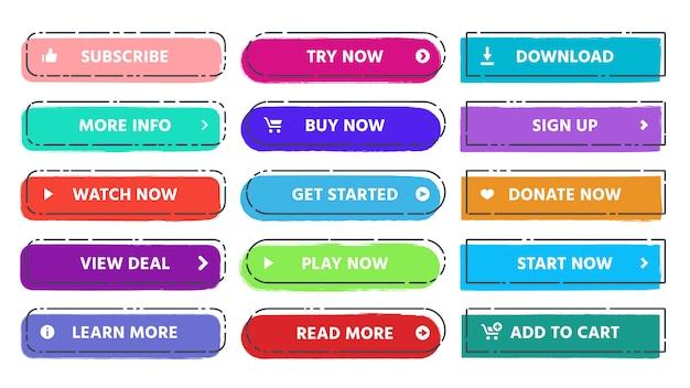 Pulsante di invito all'azione. per saperne di più, iscriviti e acquista ora i pulsanti web con colori vivaci e set piatto isolato grunge texture