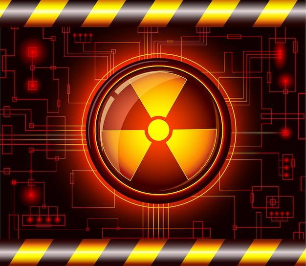 Pulsante di pericolo con il segno di radiazioni