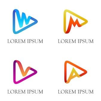 Pulsante freccia / riproduzione con iniziale logo design a lettera con stile origami