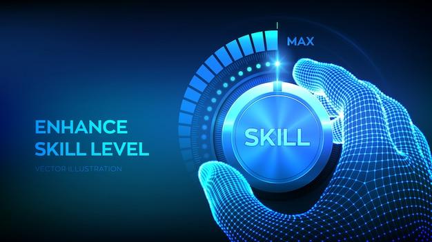 Pulsante manopola livelli di abilità. aumento del livello di abilità