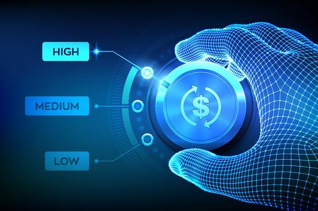 Pulsante manopola ritorno sui livelli di investimento. pulsante roi di impostazione mano wireframe nella posizione più alta.
