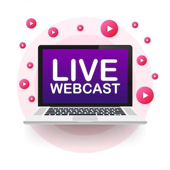 Pulsante webcast live, emblema, etichetta. illustrazione.