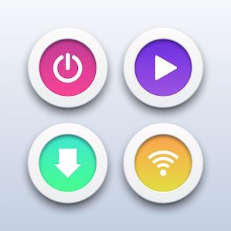 Pulsanti 3d moderni di potenza, riproduzione, download e wifi.