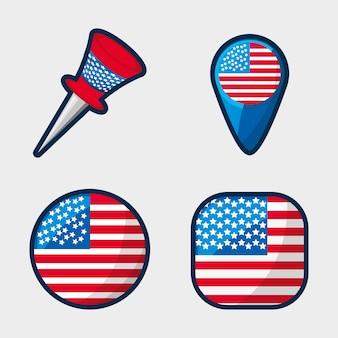 Pulsanti americani per incoraggiare lo spirito del patriottismo