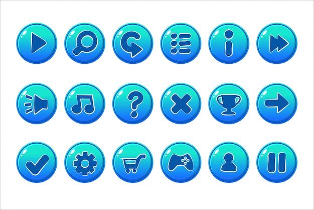 Pulsanti blu lucidi per tutti i tipi di elementi casual e cartoni animati per gli asset dei giochi