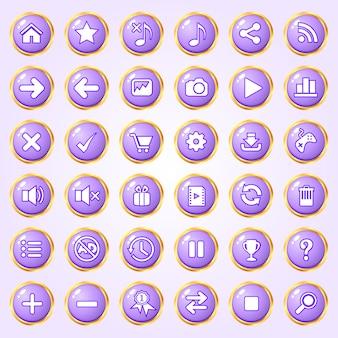 Pulsanti cerchio colore viola bordo oro icona set per giochi.