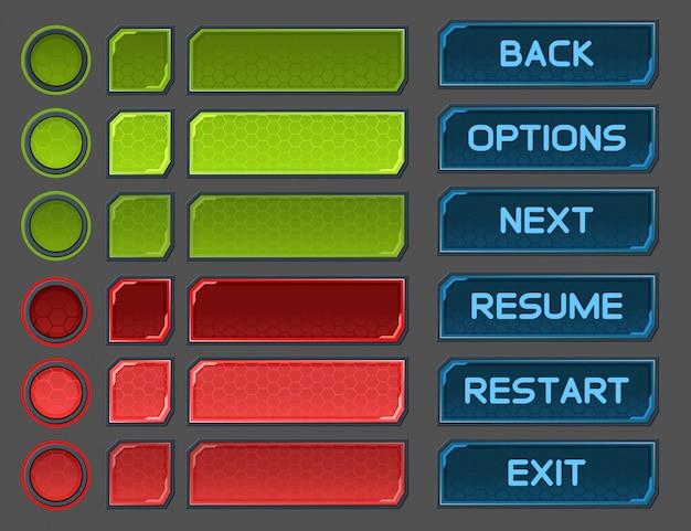 Pulsanti di interfaccia impostati per giochi o app spaziali