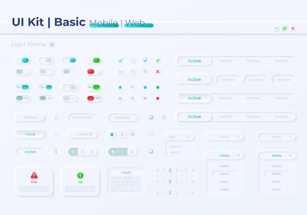 Pulsanti di opzione kit di elementi dell'interfaccia utente