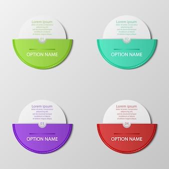 Pulsanti di opzione moderni con sfere di colore 3d su grigio