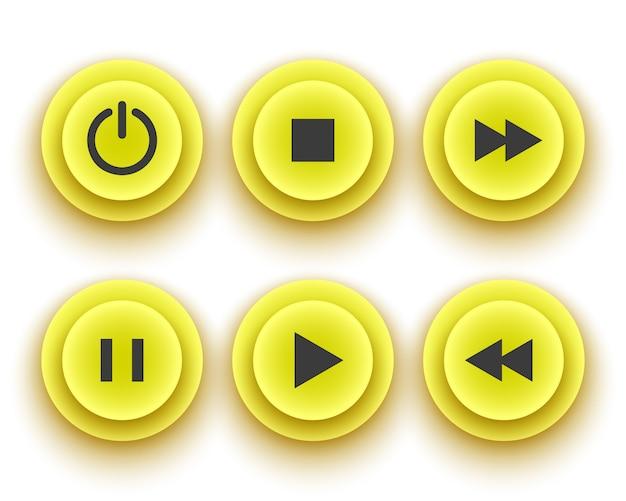 Pulsanti gialli per il giocatore: arresto, riproduzione, pausa, riavvolgimento, avanzamento veloce, accensione. illustrazione.