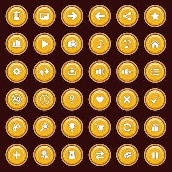 Pulsanti gui set piatto colore giallo e bordo colore marrone.