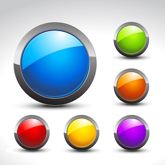 Pulsanti lucidi set di sei design colorato