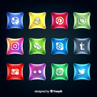 Pulsanti realistici con raccolta logo social media