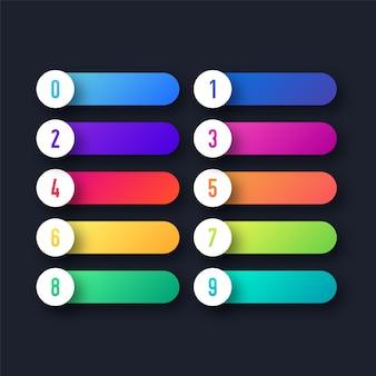 Pulsanti web colorati con punto elenco numerico