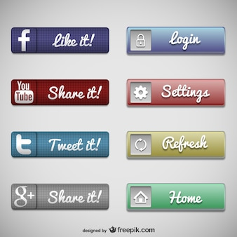 Pulsanti web set di social media