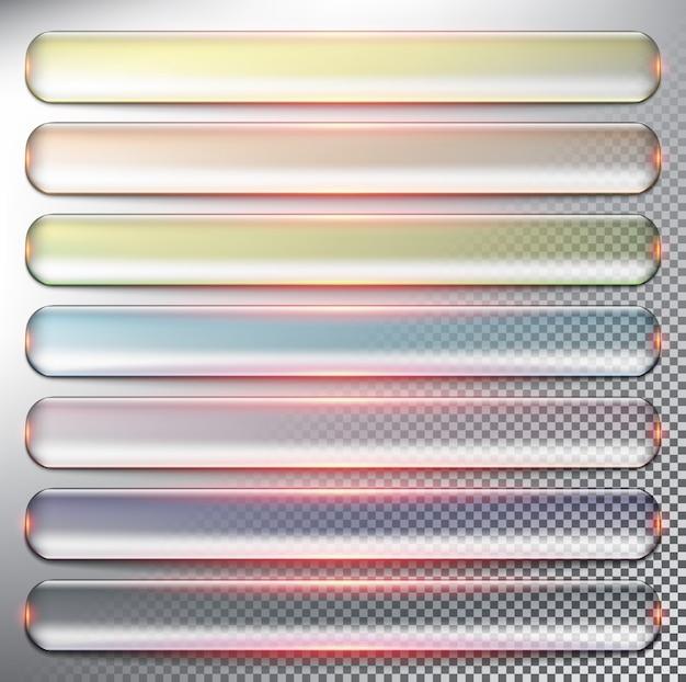Pulsanti web trasparenti set di 7. isolato su sfondo chiaro.