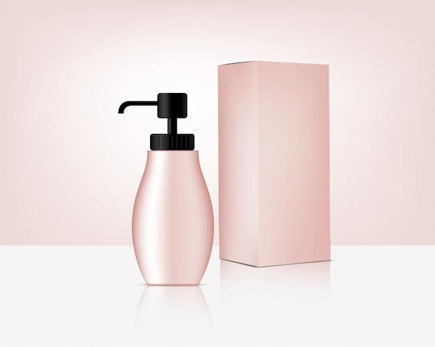 Pump bottle mock up realistico cosmetico in oro rosa e scatola per la cura della pelle