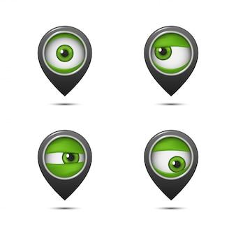 Punta sulla mappa con un occhio