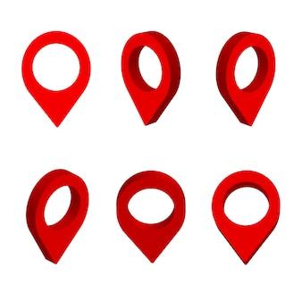 Puntatore della mappa isolato. icone di vettore pin