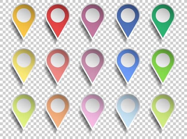 Puntatore della mappa vari colori con centro del cerchio, carta tagliata stile su sfondo trasparente