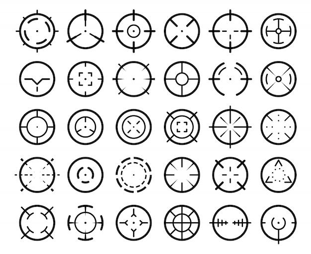 Puntatore di mira da cecchino. armi che puntano puntatori, segnano il bersaglio e mirano al bersaglio insieme di simboli visivi