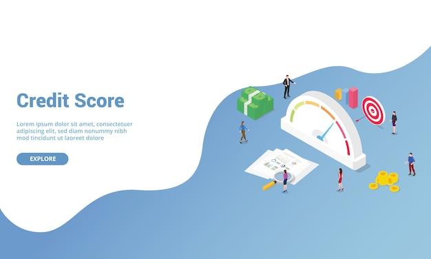 Punteggio di credito o rating isometrico per il modello di sito web o banner della homepage di destinazione