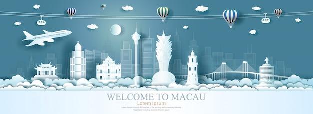 Punti di riferimento della cina di architettura di viaggio nella città famosa dell'asia di macao.